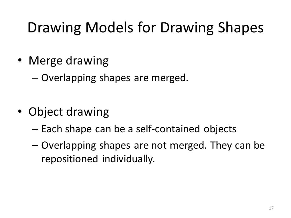Drawing Models for Drawing Shapes Merge drawing – Overlapping shapes are merged. Object drawing – Each shape can be a self-contained objects – Overlap