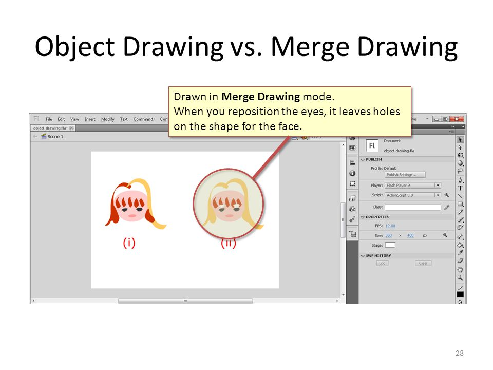 Object Drawing vs. Merge Drawing 28 Drawn in Merge Drawing mode. When you reposition the eyes, it leaves holes on the shape for the face. Drawn in Mer