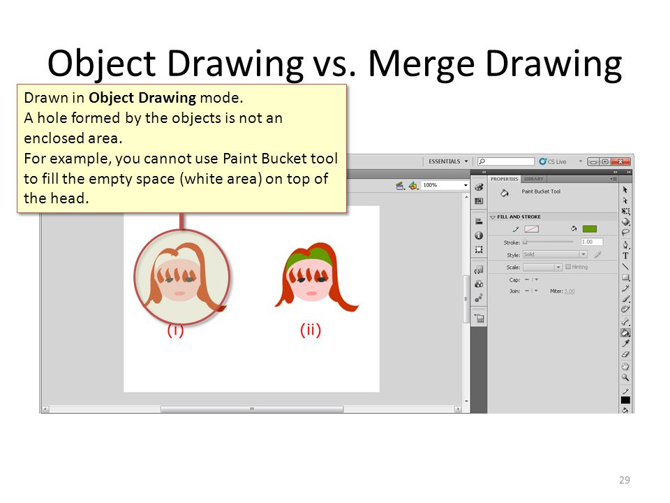 Object Drawing vs.Merge Drawing 29 Drawn in Object Drawing mode.