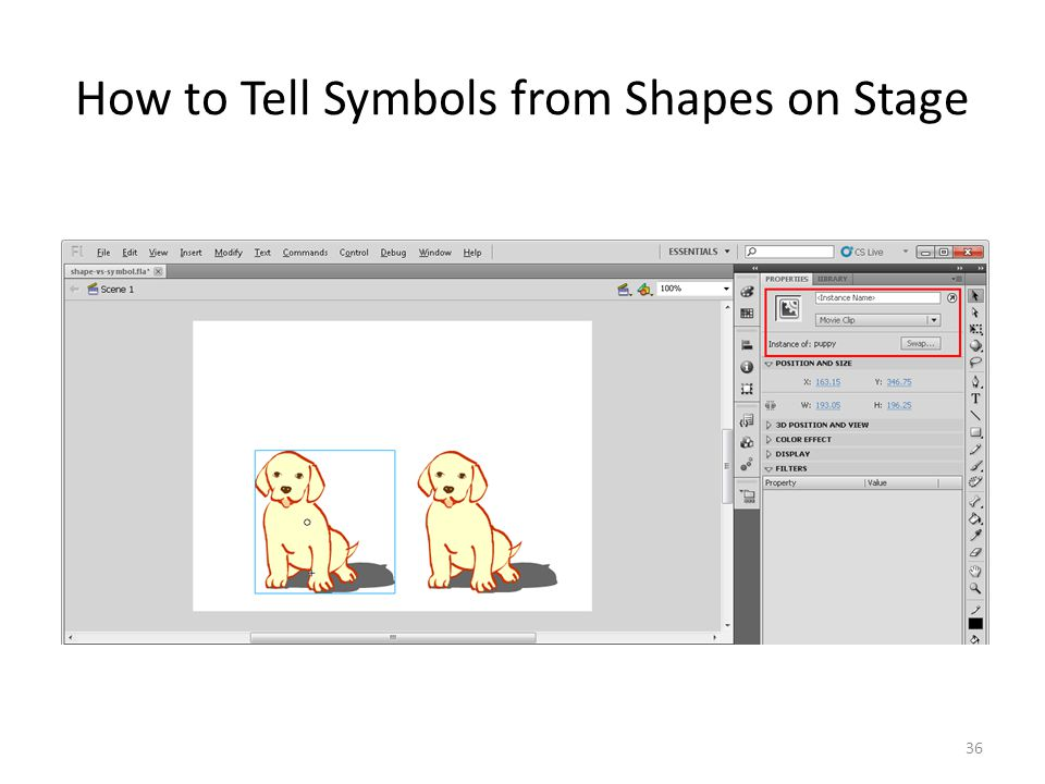 How to Tell Symbols from Shapes on Stage 36