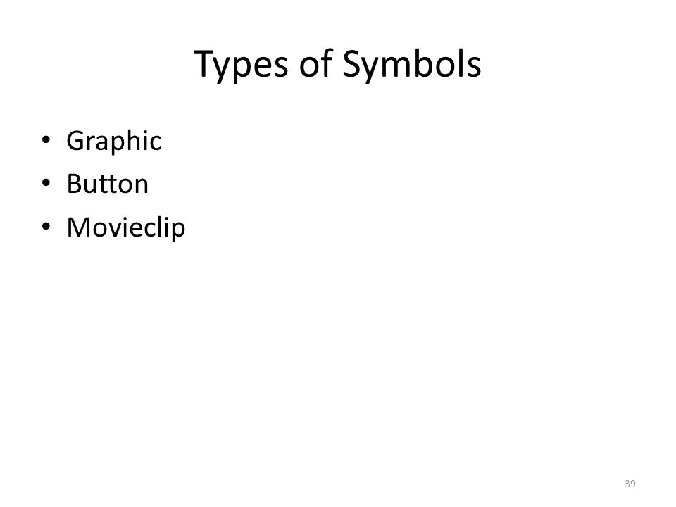 Types of Symbols Graphic Button Movieclip 39