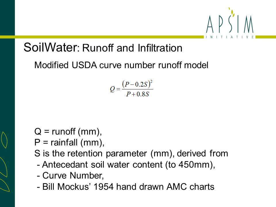 Modified USDA curve number runoff model CN starts at CN2 bare, reduced to CN red when cover reaches CN cov.