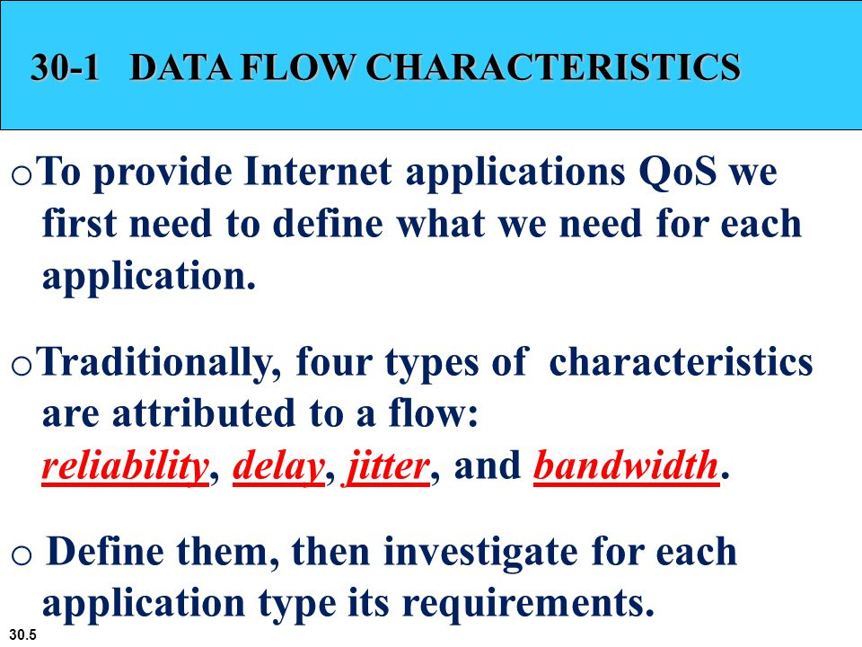 30.36 30-3 DIFFERENTIATED SERVICES (DIFFSERV) In this model, packets are marked by applications into classes according to their priorities.