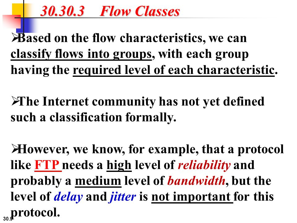 30.30 30.3.3 Service Classes Two classes of services have been defined for Integrated Services: guaranteed service and controlled-load service.