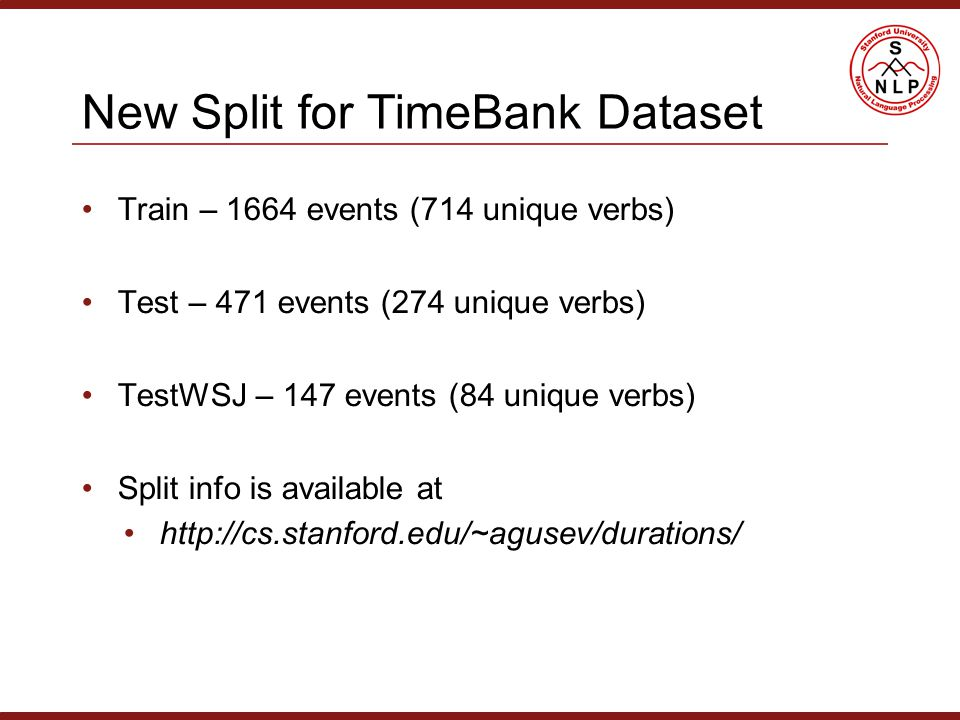 New Split for TimeBank Dataset Train – 1664 events (714 unique verbs) Test – 471 events (274 unique verbs) TestWSJ – 147 events (84 unique verbs) Split info is available at http://cs.stanford.edu/~agusev/durations/