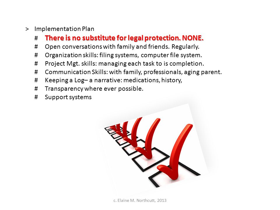 >Implementation Plan There is no substitute for legal protection. NONE. # There is no substitute for legal protection. NONE. #Open conversations with