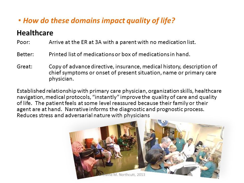 How do these domains impact quality of life? Healthcare Poor:Arrive at the ER at 3A with a parent with no medication list. Better: Printed list of med