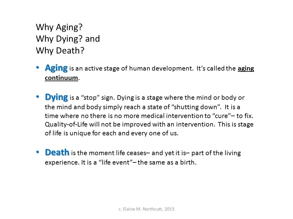 Why Aging. Why Dying. and Why Death. Aging Aging is an active stage of human development.