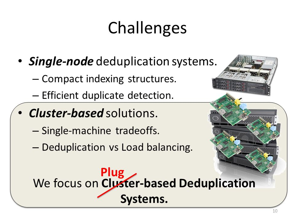 Challenges Single-node deduplication systems. – Compact indexing structures.