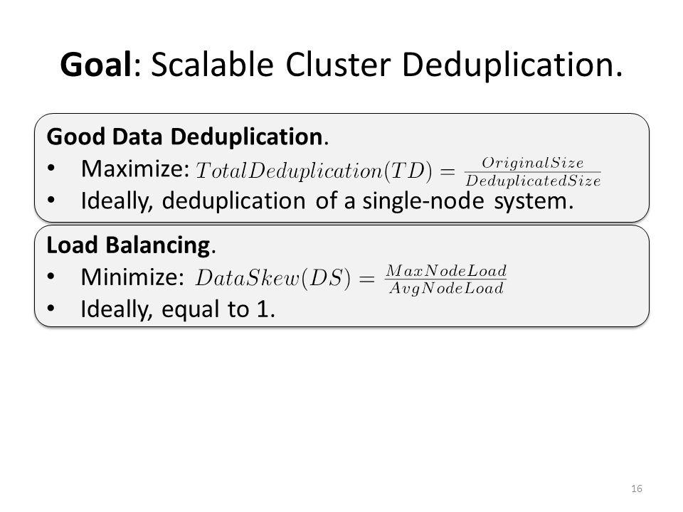 Goal: Scalable Cluster Deduplication. 16 Load Balancing.