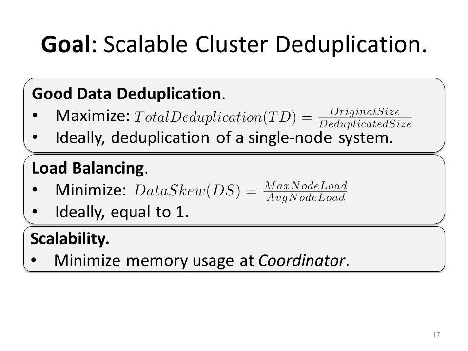 Goal: Scalable Cluster Deduplication. 17 Load Balancing.