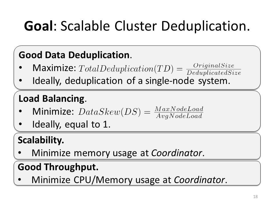 Goal: Scalable Cluster Deduplication. 18 Load Balancing.