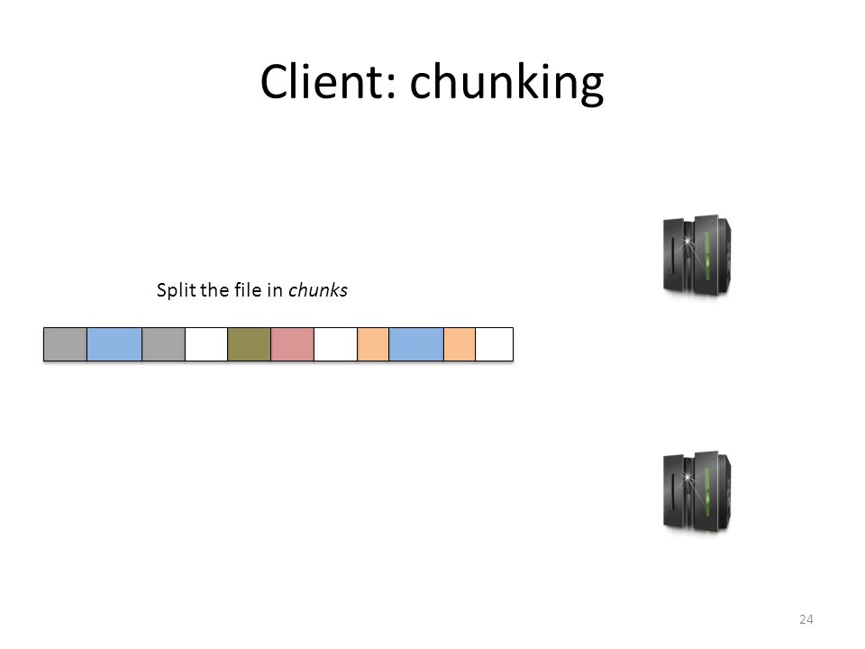 Client: chunking 24 Split the file in chunks