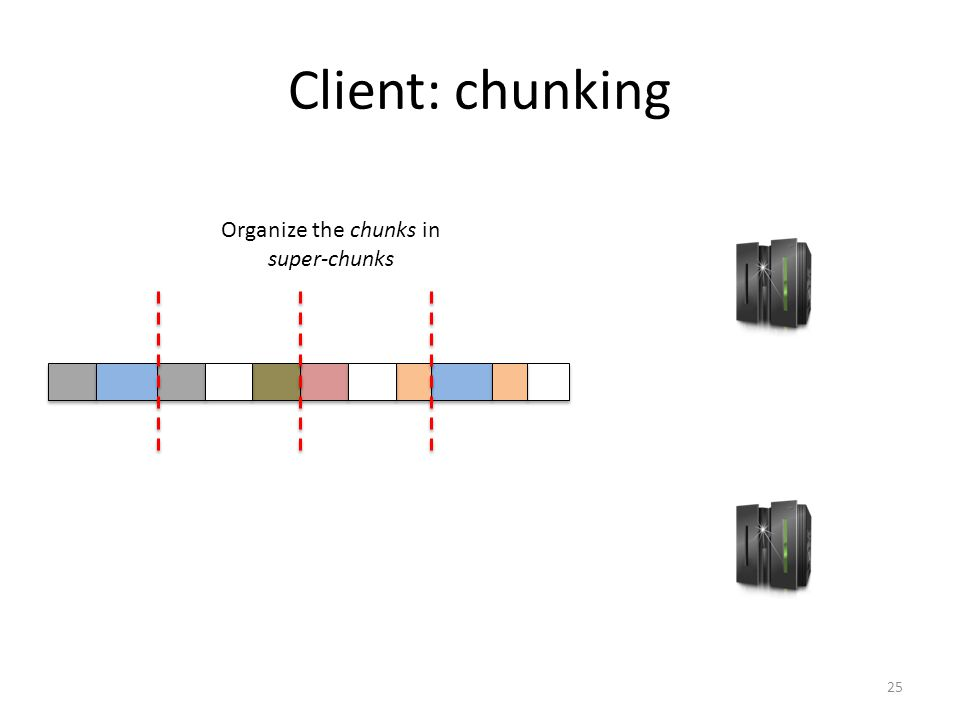 Client: chunking 25 Organize the chunks in super-chunks