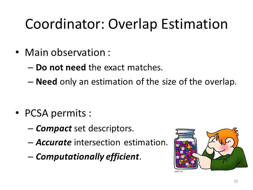 Coordinator: Overlap Estimation Main observation : – Do not need the exact matches.