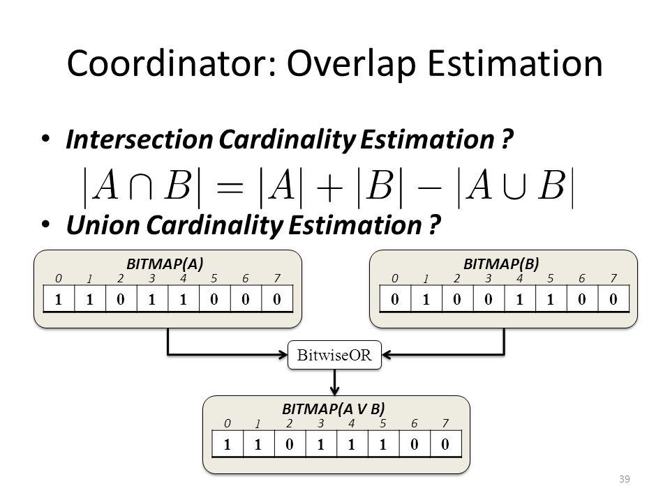 Coordinator: Overlap Estimation Intersection Cardinality Estimation .