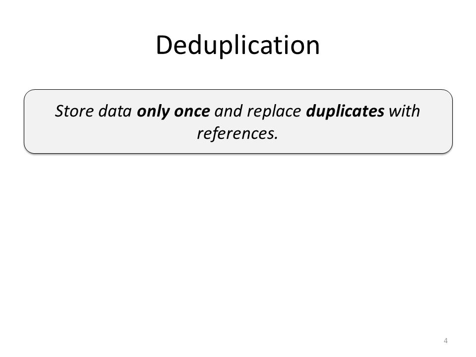 Deduplication Store data only once and replace duplicates with references. 4