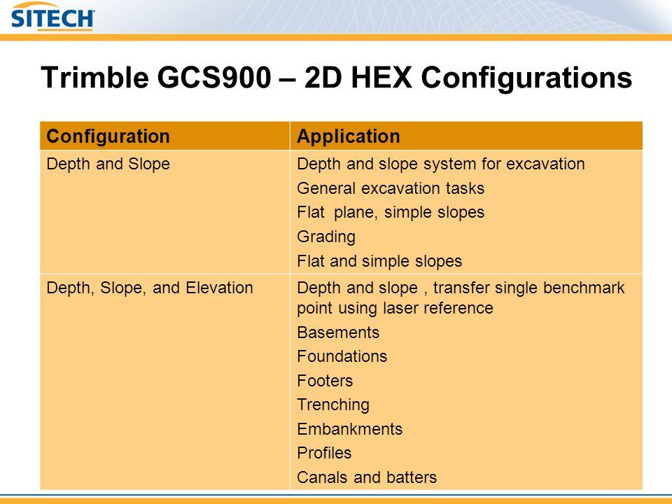 Trimble GCS900 – 2D HEX Configurations ConfigurationApplication Depth and SlopeDepth and slope system for excavation General excavation tasks Flat pla