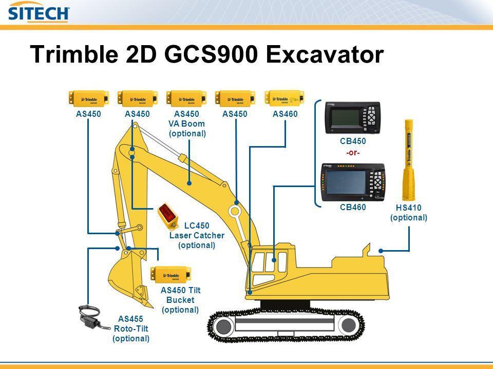 Trimble 2D GCS900 Excavator AS450 AS450 Tilt Bucket (optional) AS460 AS450 VA Boom (optional) AS455 Roto-Tilt (optional) LC450 Laser Catcher (optional