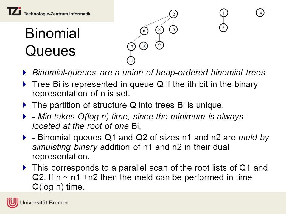 Binomial Queues  Binomial-queues are a union of heap-ordered binomial trees.  Tree Bi is represented in queue Q if the ith bit in the binary represe