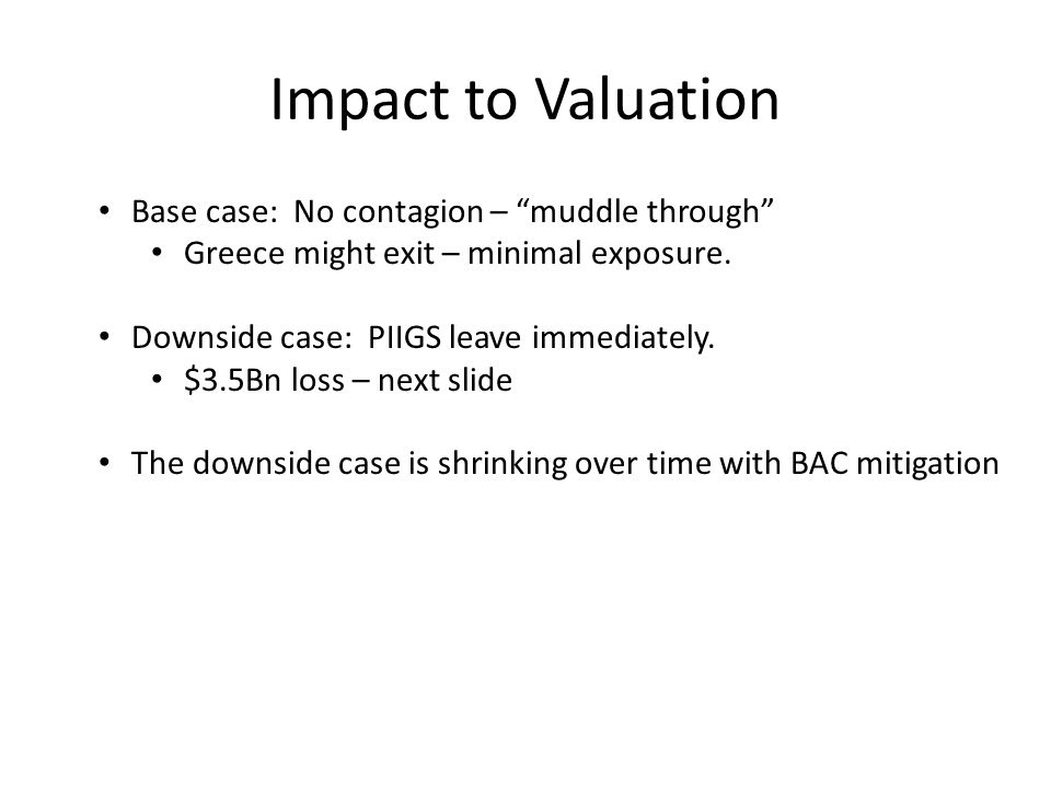 Impact to Valuation Base case: No contagion – muddle through Greece might exit – minimal exposure.