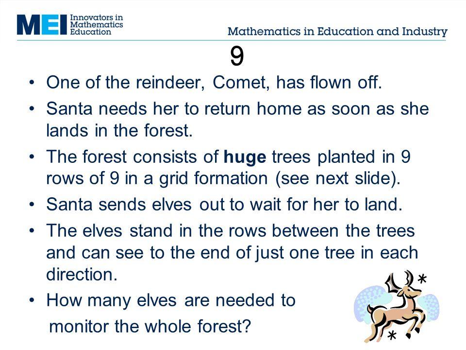 9 One of the reindeer, Comet, has flown off.