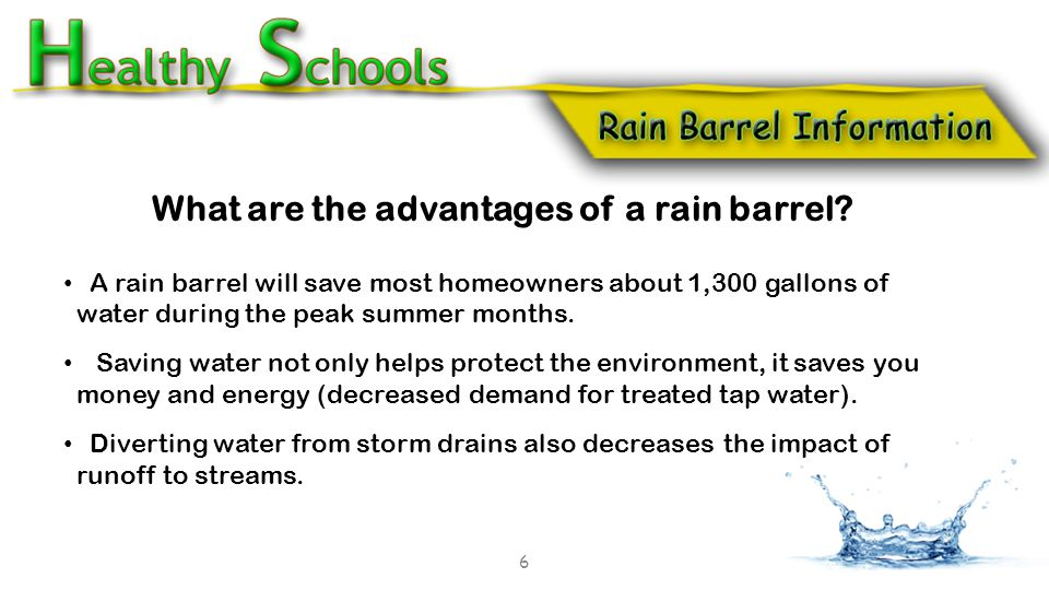 What are the advantages of a rain barrel.