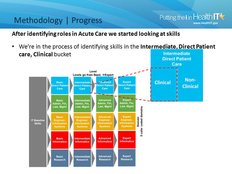 We're in the process of identifying skills in the Intermediate, Direct Patient care, Clinical bucket After identifying roles in Acute Care we started looking at skills Methodology | Progress