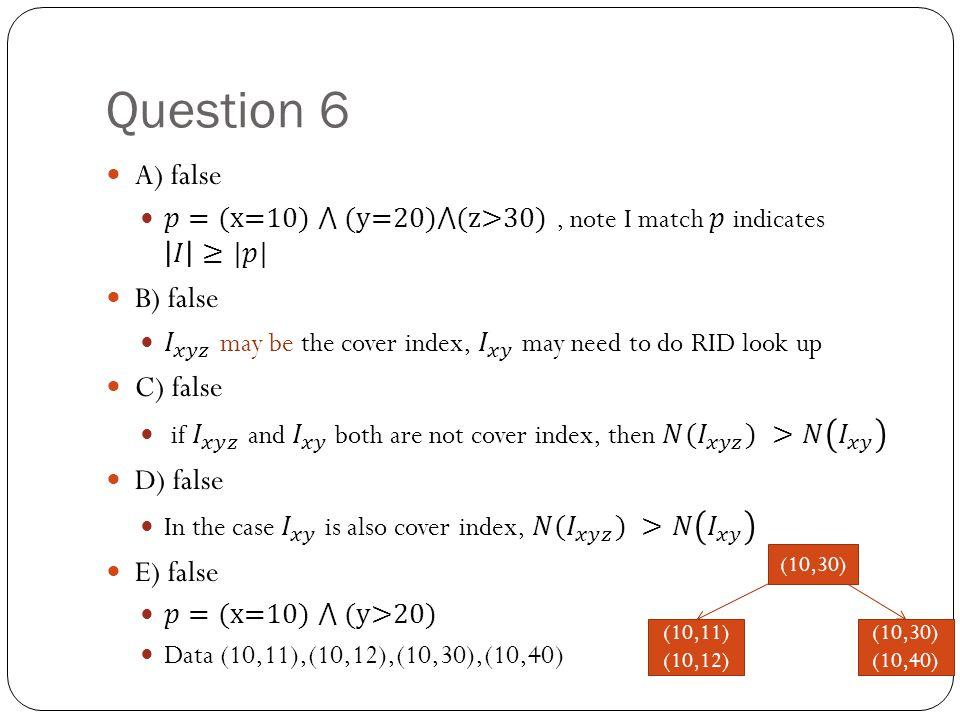 Question 6 (10,30) (10,11) (10,12) (10,30) (10,40)