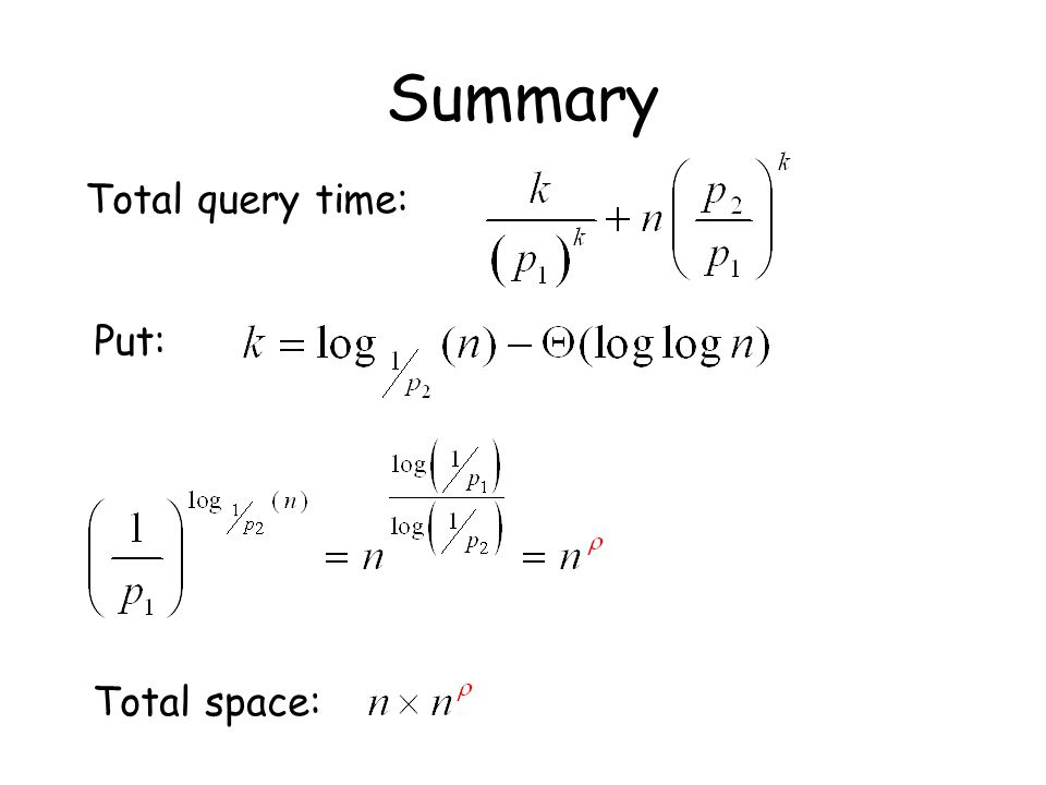 Summary Total query time: Put: Total space: