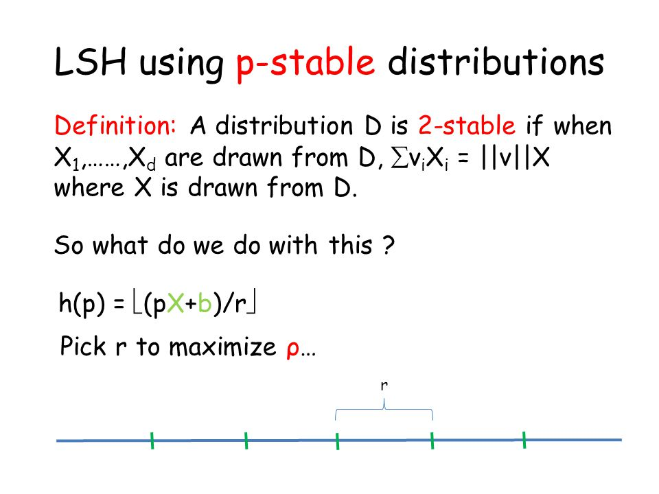 LSH using p-stable distributions Definition: A distribution D is 2-stable if when X 1,……,X d are drawn from D,  v i X i = ||v||X where X is drawn from D.