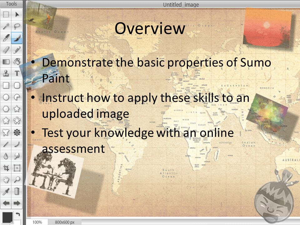 Sumo Paint: Editing an Image Once you have achieved the desired fills, colors and fonts for your image, you can save it directly to your computer for personal use.