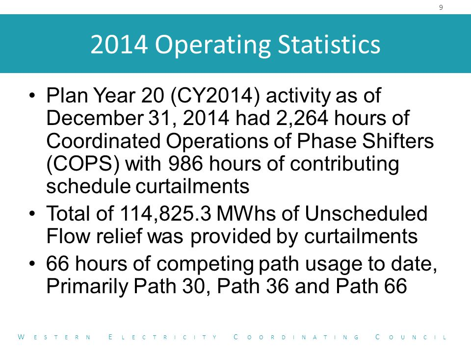 2014 Operating Statistics Plan Year 20 (CY2014) activity as of December 31, 2014 had 2,264 hours of Coordinated Operations of Phase Shifters (COPS) with 986 hours of contributing schedule curtailments Total of 114,825.3 MWhs of Unscheduled Flow relief was provided by curtailments 66 hours of competing path usage to date, Primarily Path 30, Path 36 and Path 66 9 W ESTERN E LECTRICITY C OORDINATING C OUNCIL