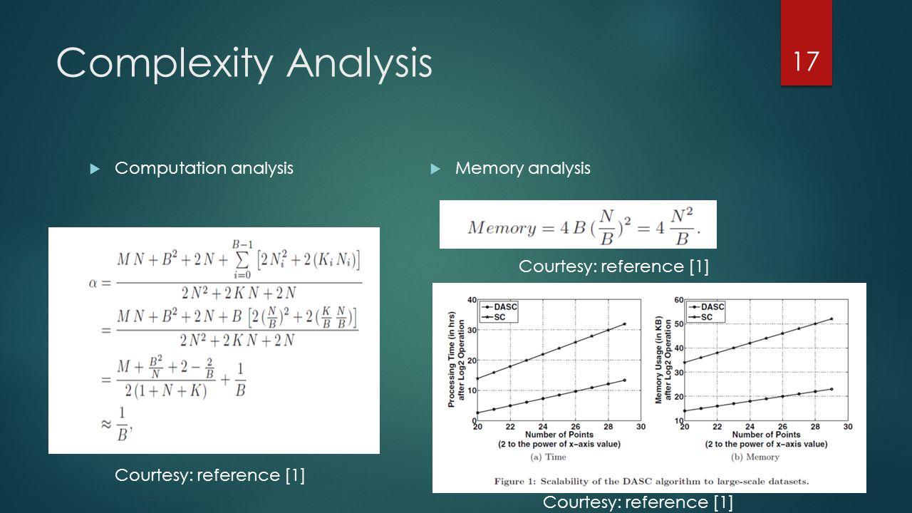 Complexity Analysis  Computation analysis  Memory analysis 17 Courtesy: reference [1]