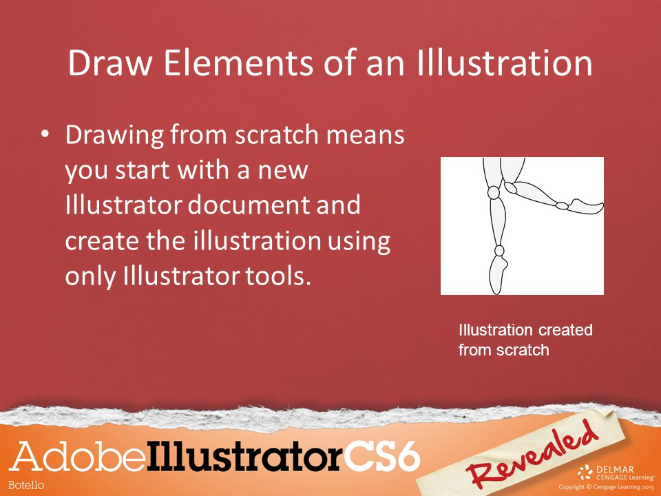 Draw Elements of an Illustration Drawing from scratch means you start with a new Illustrator document and create the illustration using only Illustrator tools.