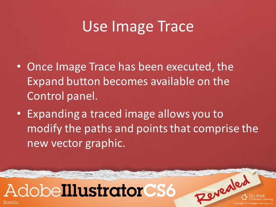 Once Image Trace has been executed, the Expand button becomes available on the Control panel.