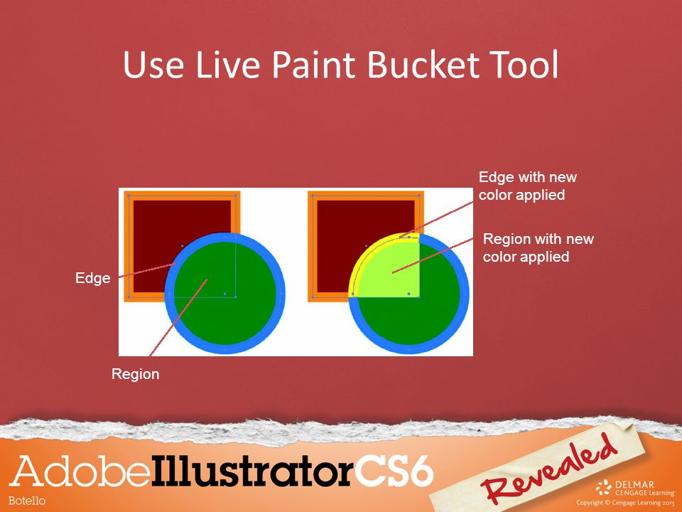 Edge Region Edge with new color applied Region with new color applied Use Live Paint Bucket Tool