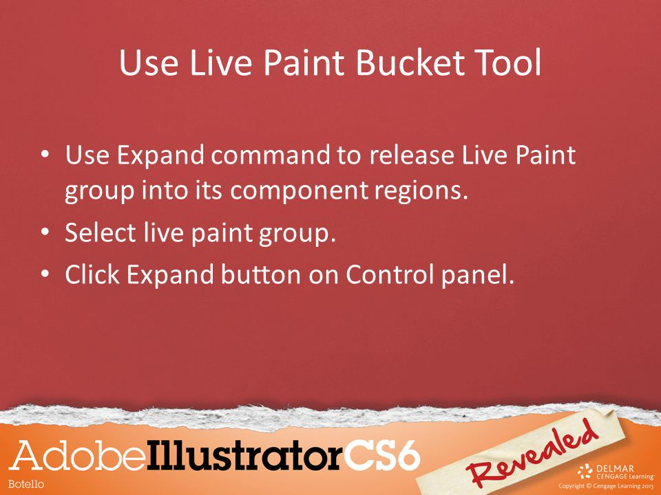 Use Expand command to release Live Paint group into its component regions. Select live paint group. Click Expand button on Control panel. Use Live Pai