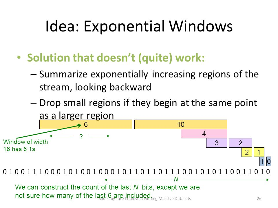 Idea: Exponential Windows Solution that doesn't (quite) work: – Summarize exponentially increasing regions of the stream, looking backward – Drop smal