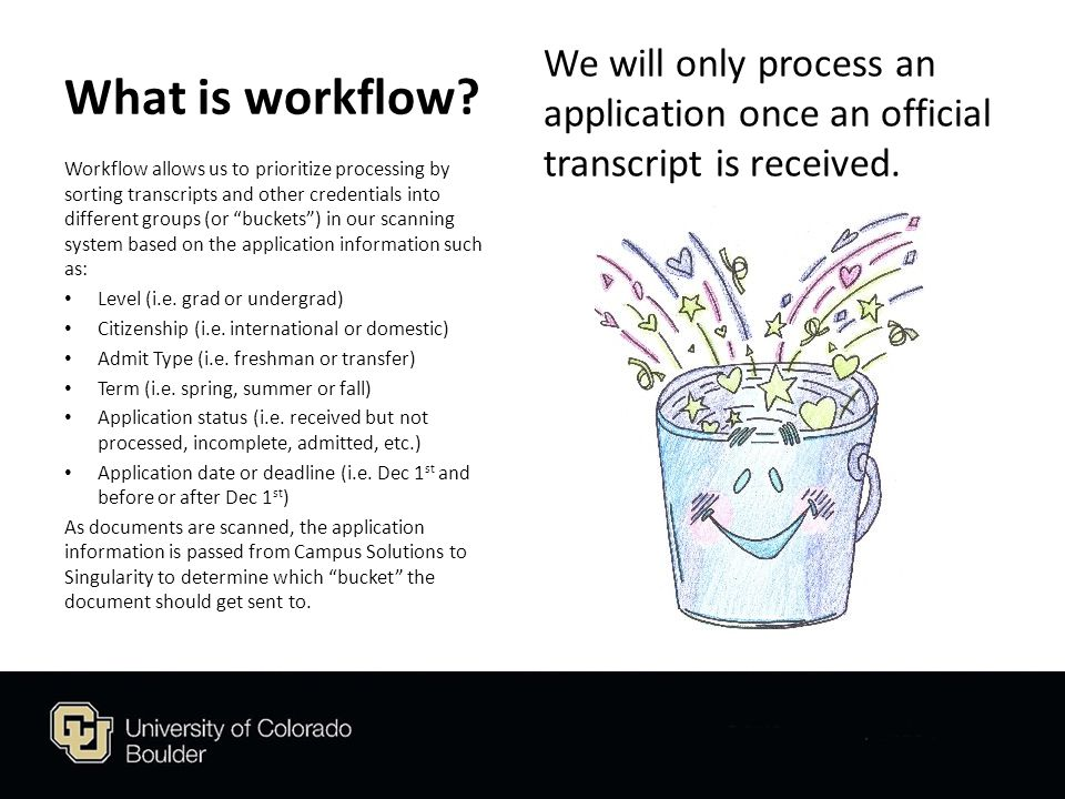 What is workflow. We will only process an application once an official transcript is received.