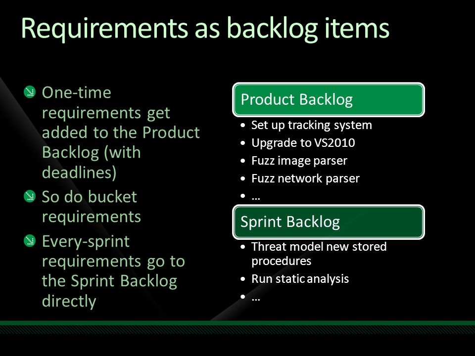 Requirements as backlog items One-time requirements get added to the Product Backlog (with deadlines) So do bucket requirements Every-sprint requirements go to the Sprint Backlog directly Product Backlog Set up tracking system Upgrade to VS2010 Fuzz image parser Fuzz network parser … Sprint Backlog Threat model new stored procedures Run static analysis …