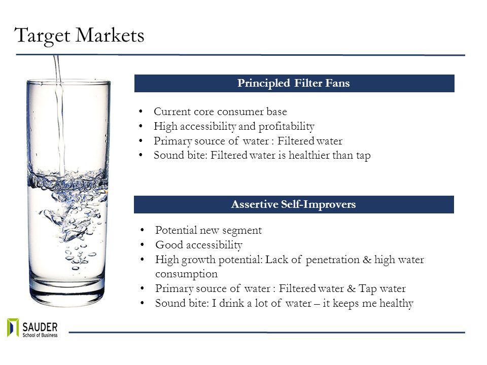Target Markets Principled Filter Fans Assertive Self-Improvers Current core consumer base High accessibility and profitability Primary source of water : Filtered water Sound bite: Filtered water is healthier than tap Potential new segment Good accessibility High growth potential: Lack of penetration & high water consumption Primary source of water : Filtered water & Tap water Sound bite: I drink a lot of water – it keeps me healthy