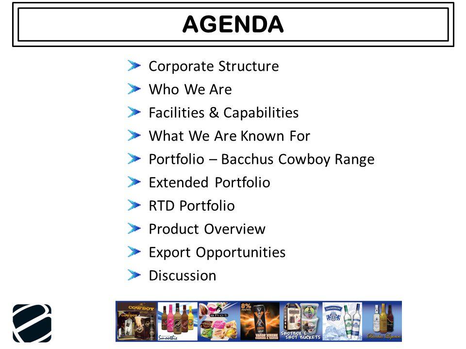 AGENDA Corporate Structure Who We Are Facilities & Capabilities What We Are Known For Portfolio – Bacchus Cowboy Range Extended Portfolio RTD Portfoli