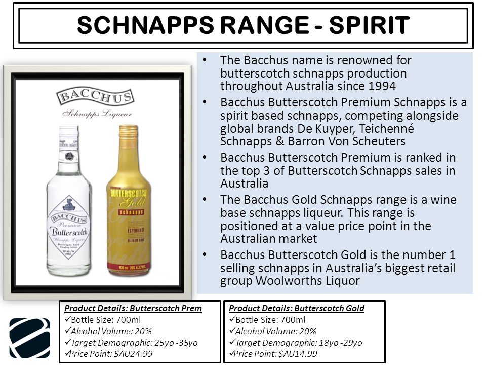The Bacchus name is renowned for butterscotch schnapps production throughout Australia since 1994 Bacchus Butterscotch Premium Schnapps is a spirit based schnapps, competing alongside global brands De Kuyper, Teichenné Schnapps & Barron Von Scheuters Bacchus Butterscotch Premium is ranked in the top 3 of Butterscotch Schnapps sales in Australia The Bacchus Gold Schnapps range is a wine base schnapps liqueur.