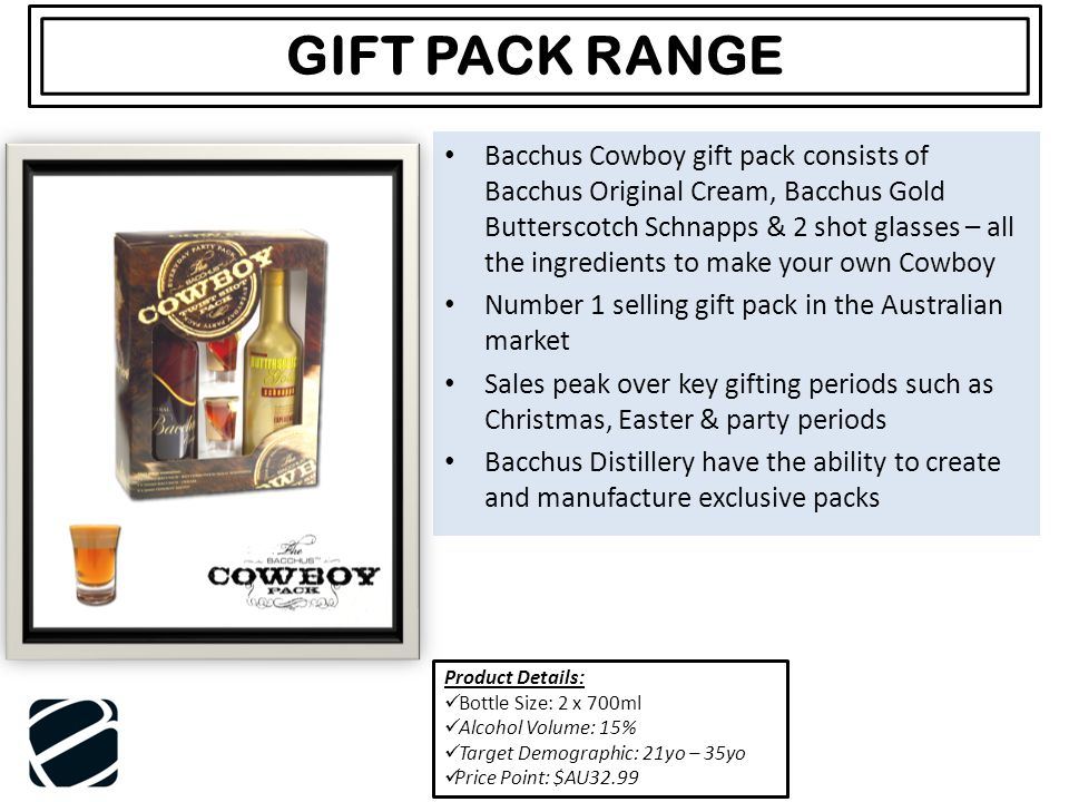 Bacchus Cowboy gift pack consists of Bacchus Original Cream, Bacchus Gold Butterscotch Schnapps & 2 shot glasses – all the ingredients to make your ow