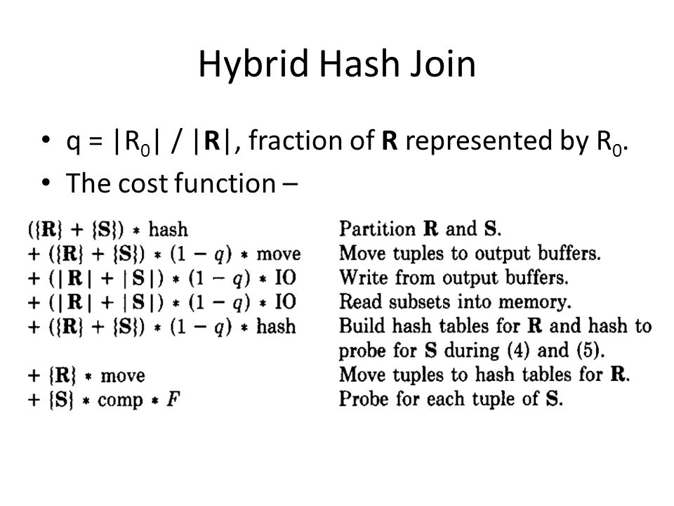 Hybrid Hash Join q = |R 0 | / |R|, fraction of R represented by R 0. The cost function –