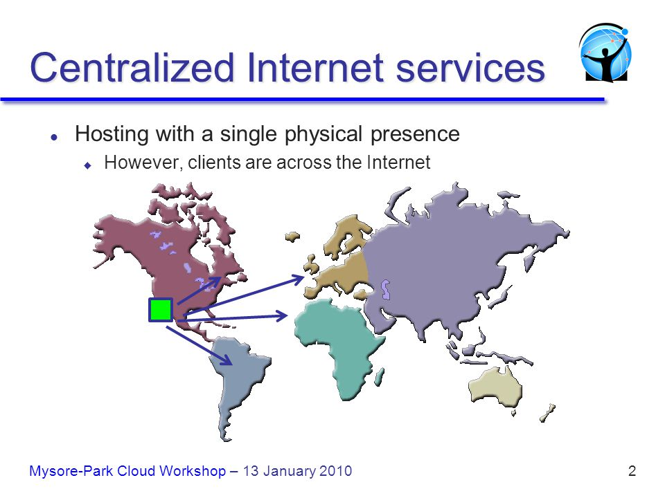 2 l Hosting with a single physical presence u However, clients are across the Internet Centralized Internet services Mysore-Park Cloud Workshop – 13 January 2010
