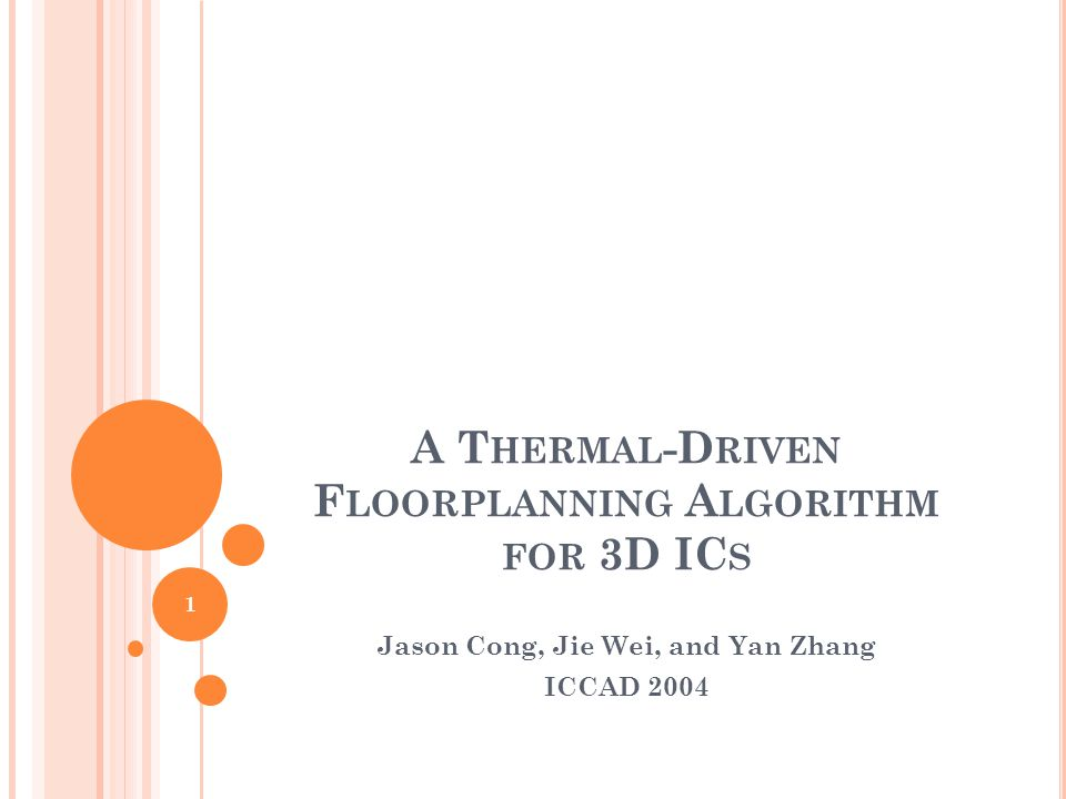 A T HERMAL -D RIVEN F LOORPLANNING A LGORITHM FOR 3D IC S Jason Cong, Jie Wei, and Yan Zhang ICCAD 2004 1