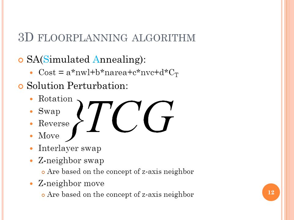 3D FLOORPLANNING ALGORITHM SA(Simulated Annealing): Cost = a*nwl+b*narea+c*nvc+d*C T Solution Perturbation: Rotation Swap Reverse Move Interlayer swap Z-neighbor swap Are based on the concept of z-axis neighbor Z-neighbor move Are based on the concept of z-axis neighbor 12