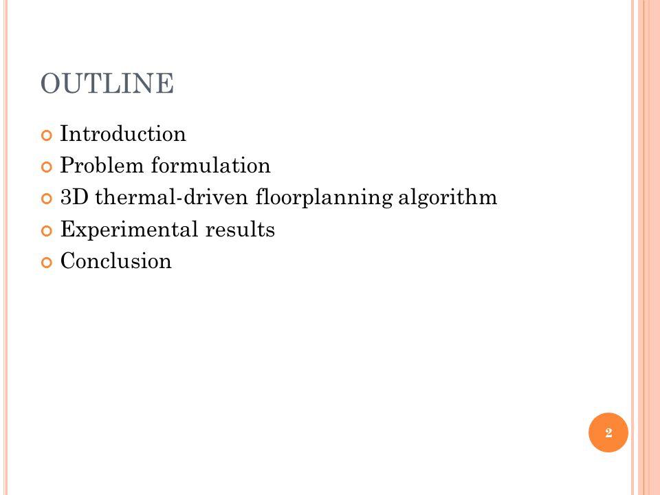 OUTLINE Introduction Problem formulation 3D thermal-driven floorplanning algorithm Experimental results Conclusion 2